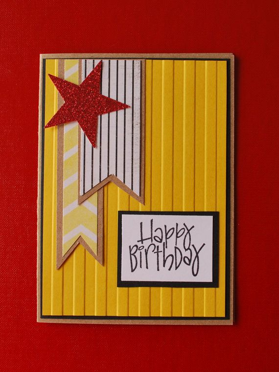 Items similar to Handmade Card, Happy Birthday, Teenager, Men, Bright, Star, Glitter on Etsy
