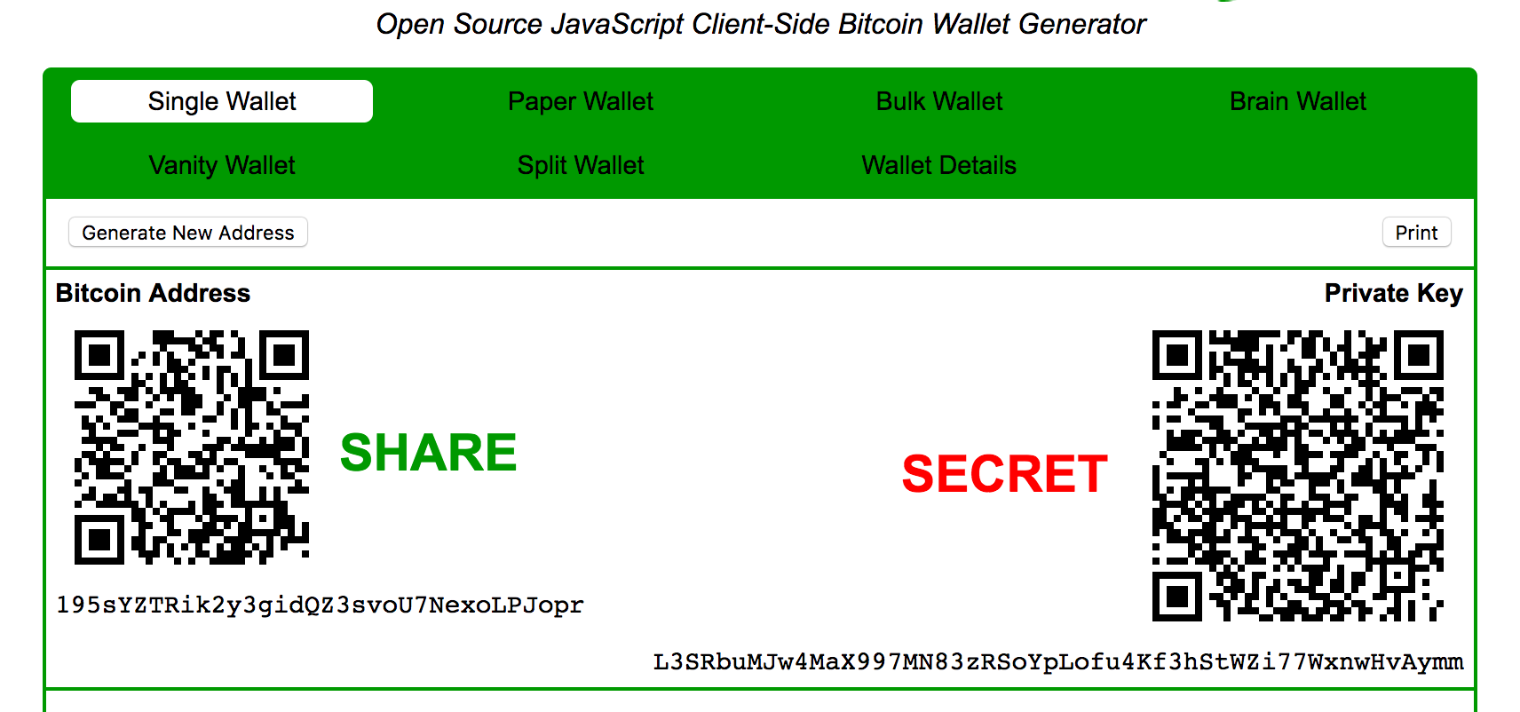 bitcoin wallet online private key