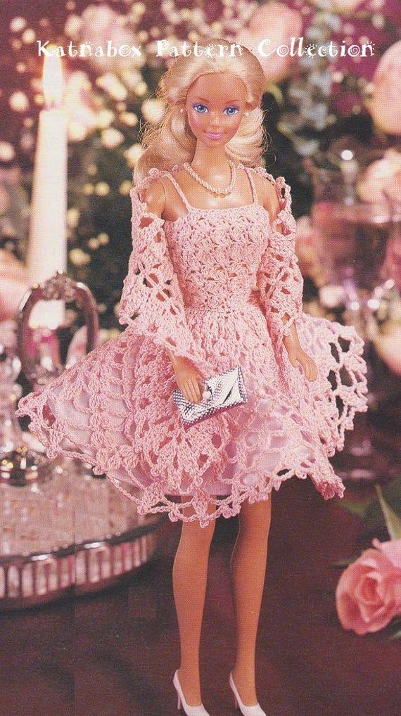 Crochet Fashion Doll Sun Dress & Stole Pattern Set #KC0407, Intermediate Skill Level, Crochet PDF DIGITAL Pattern #crochetedbarbiedollclothes