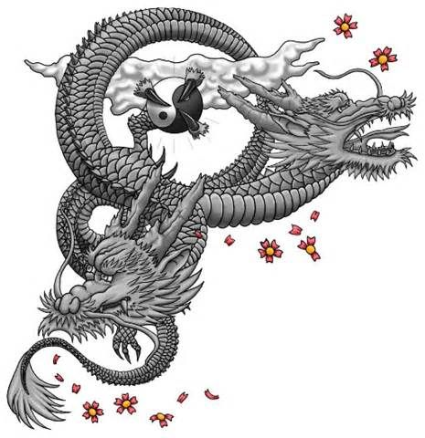 Thread Two Headed Japanese Dragon Tattoo Tattoo 1 Japanese Dragon Tattoo Dragon Tattoo Drawing Japanese Dragon