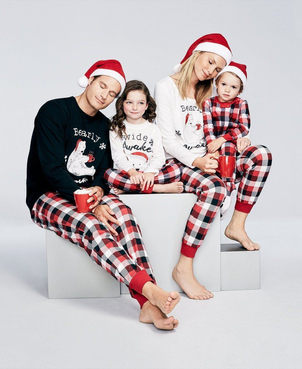 2fb64be110 Family Matching Outfits Pajamas Sleepwear Set Family Christmas Clothes Set  For Dad Mom Kids Baby Clothing