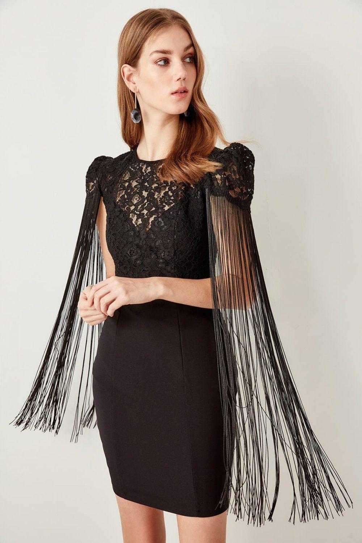 Trendyolmilla Siyah Puskul Detayli Mini Abiye Elbise Elbisebul The Dress Elbise Kadin