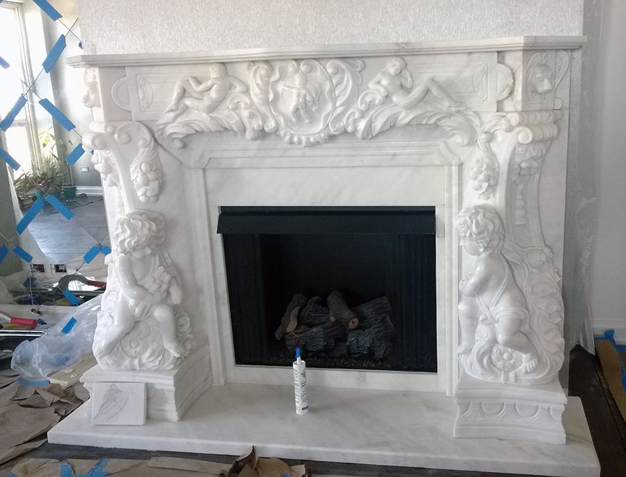 White Marble Angel Cherubim French Style Fireplace Surround Installed Pictures Design Ideas