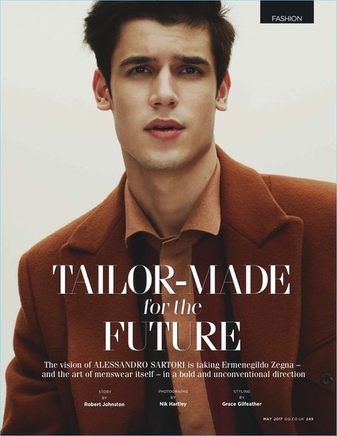 Model Victor Oliveira stars in an editorial featuring Ermenegildo Zegna Couture for British GQ.