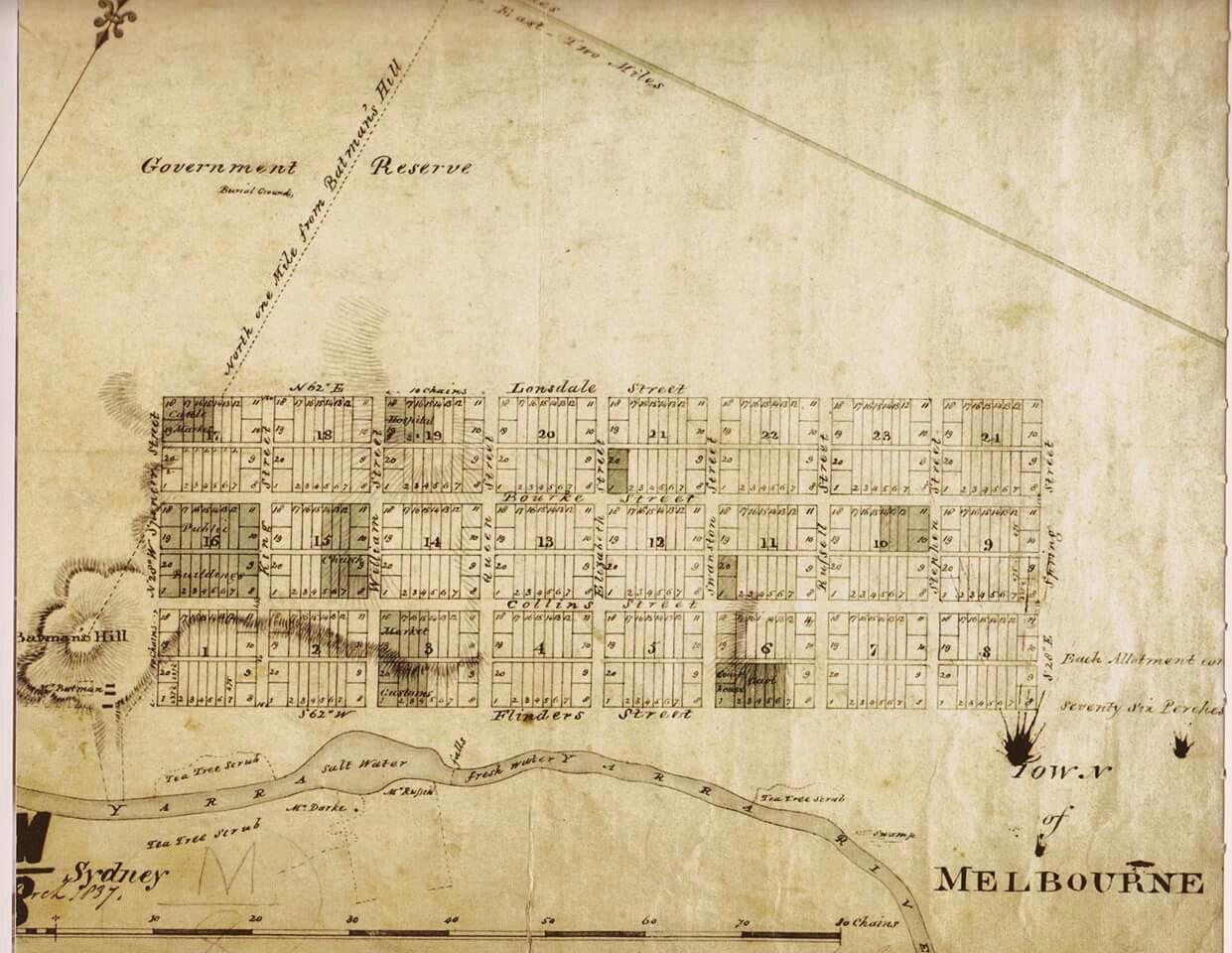 Australia Map Grid.Hoddle Grid 1834 Melbourne Victoria Australia Melbourne