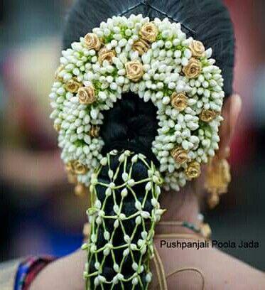 beautiful poola jada  indian bride hairstyle bridal