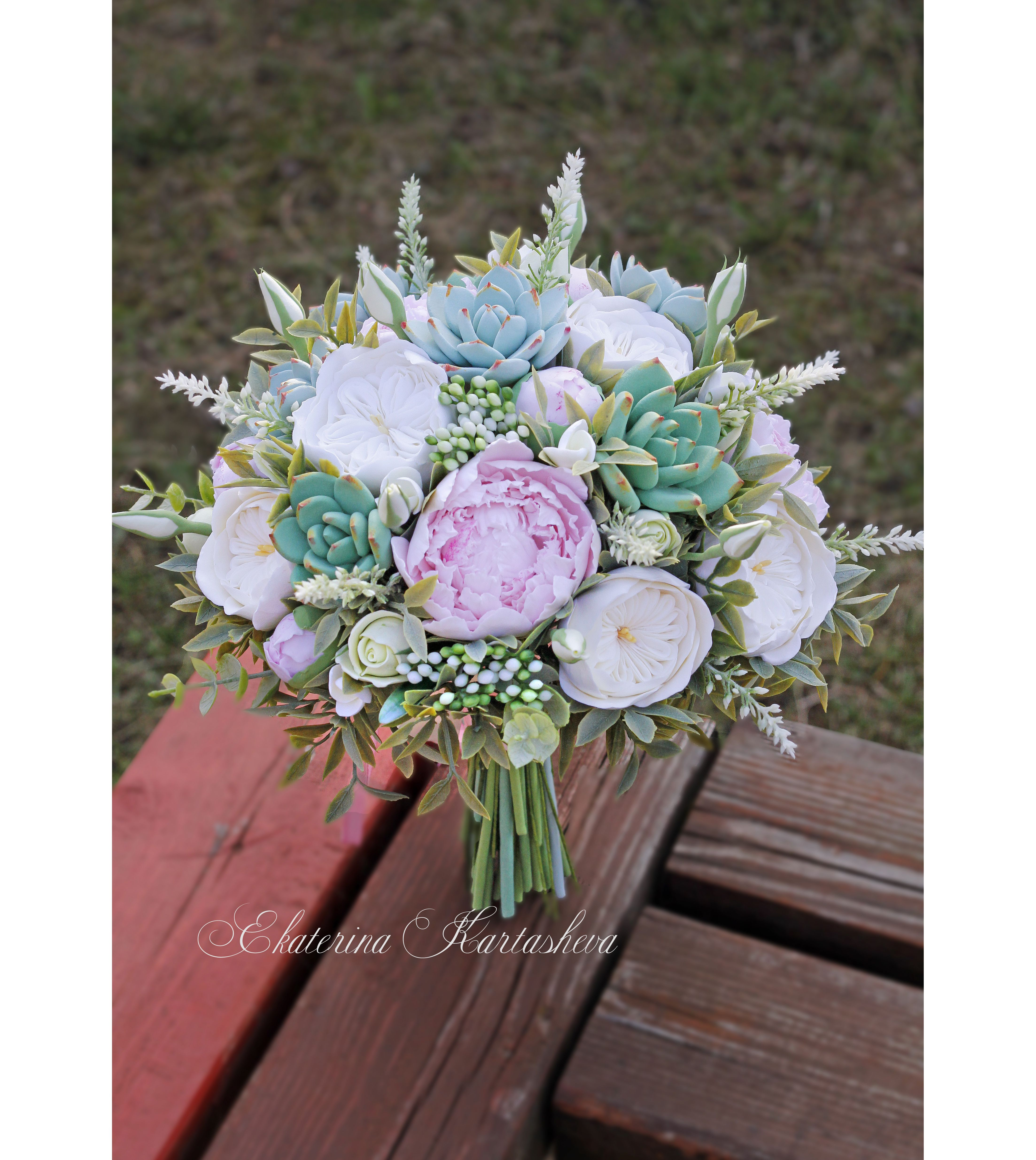 Wedding bouquet succulent bouquet Clay bouquet flowers bridal ...