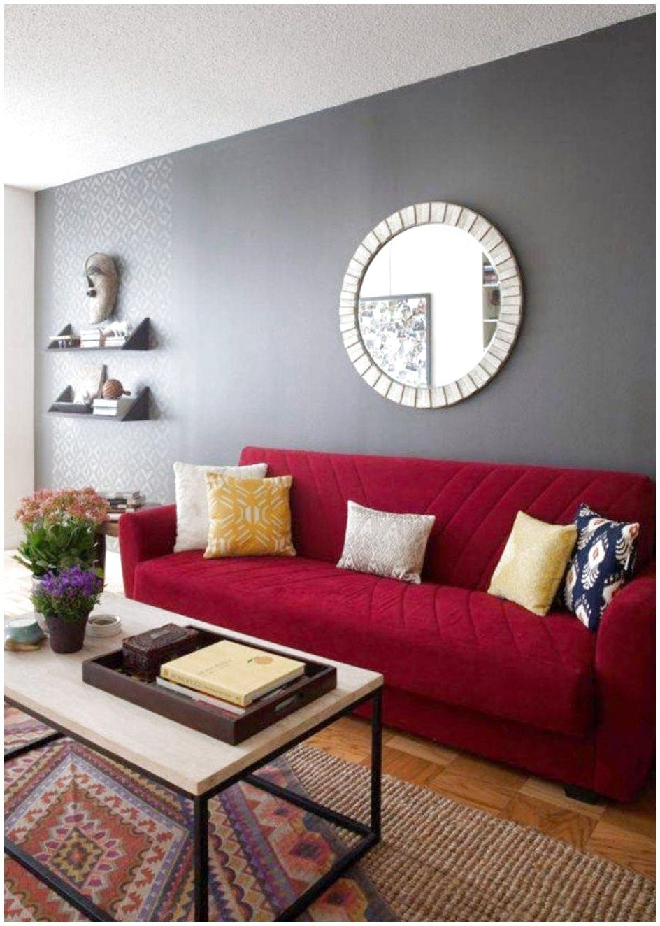 Ordinaire Paint, Simple Dark And Light Grey Combination For Best Colors To Paint  Living Room Walls With Red Comfy Fabric Sofa And Colorful Pillows And Light  Brown ...
