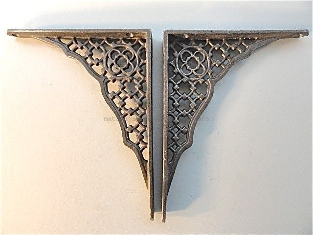 details about pair of gothic revival cast iron shelf brackets wall bracket antique style