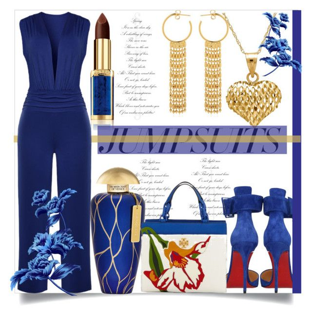 """""""One and Done: Jumpsuits"""" by helenaymangual ❤ liked on Polyvore featuring Christian Louboutin, Philippe Audibert, The Merchant Of Venice, L'Oréal Paris, Lord & Taylor, WithChic, Tory Burch and jumpsuits"""