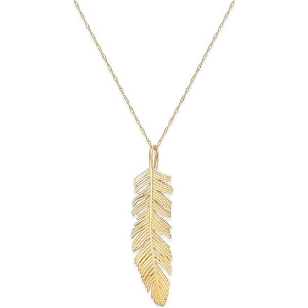 Feather Pendant Necklace In 14k Gold 7 285 Uyu Liked On Polyvore Featuring Jewelry Necklaces Bijoux Yellow Gold Feather Jewelry Feather Pendant Neck Oro