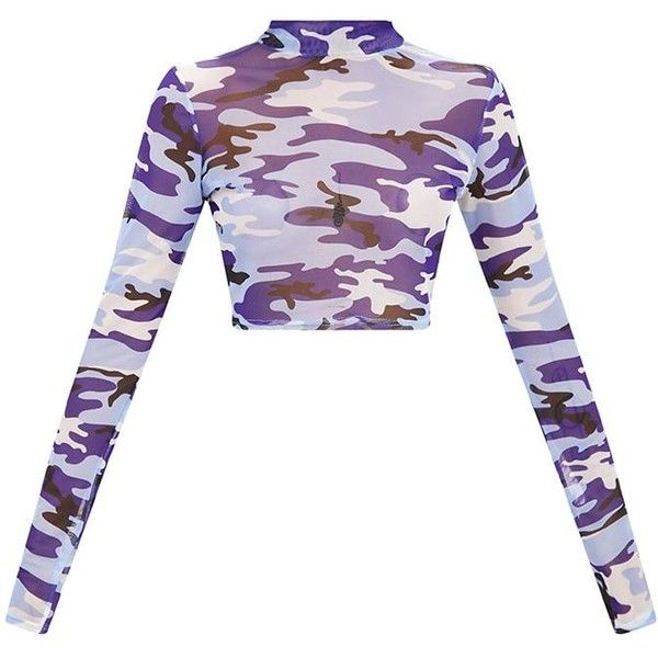 9ab6df283ff64 Blue Camo Mesh Longsleeve Crop Top ( 50) ❤ liked on Polyvore featuring tops