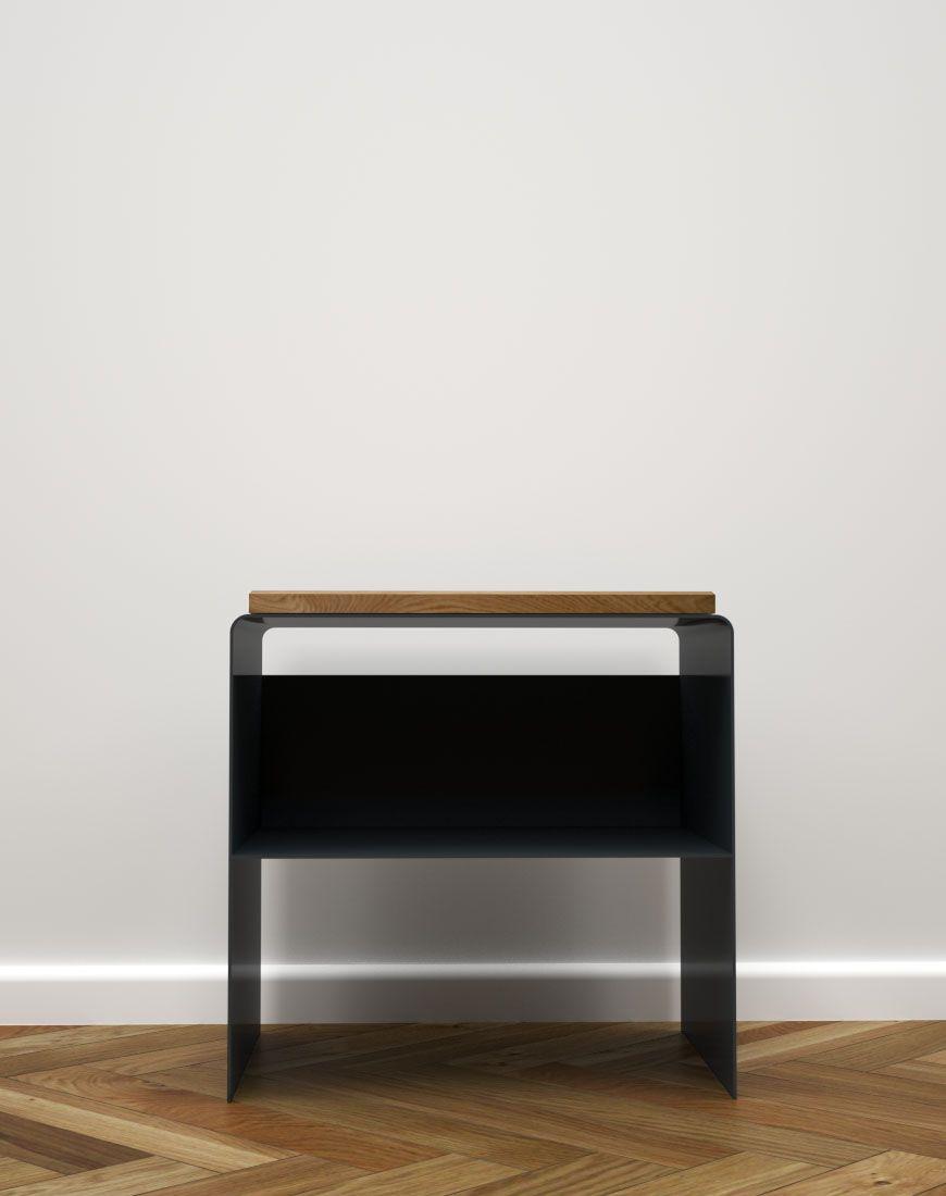 Design Nachttisch Modern Weiß Schwarz Holz Metall The Classic