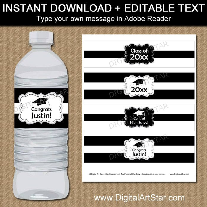 Black And White Graduation Water Bottle Label Template High