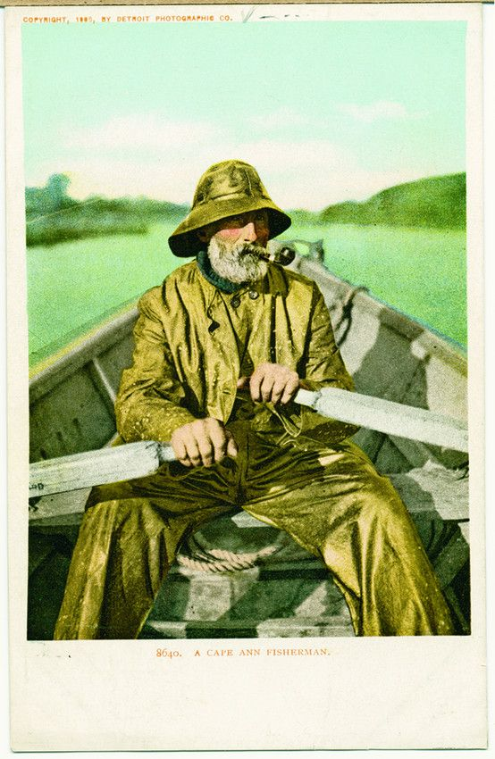 Fisherman in rough weather gear, location unknown, undated | General photographic collection (PC001) -- Historic New England