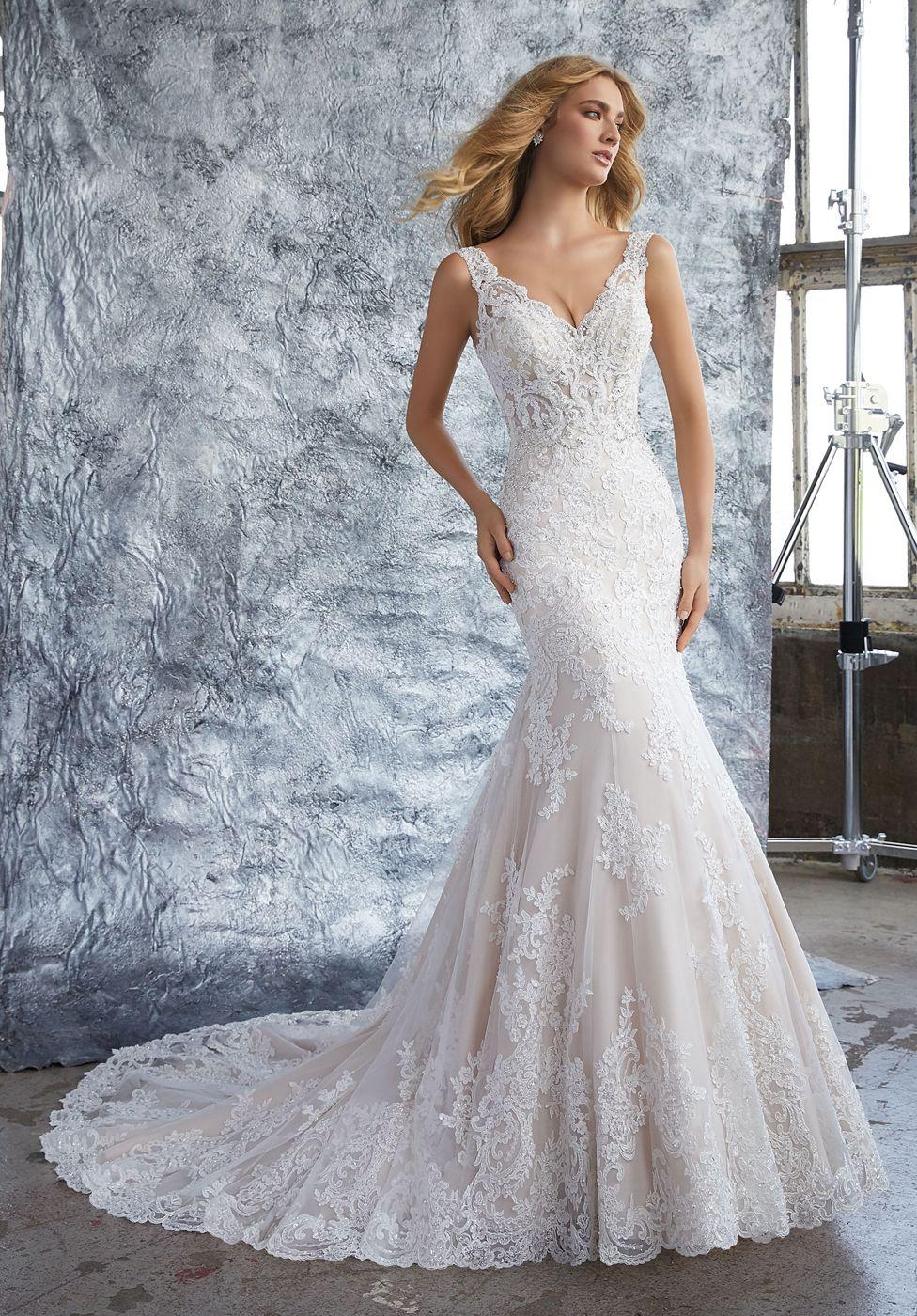 Mori Lee 8212 Kristina V Neck Fit And Flare Bridal Gown V Neck Wedding Dress Fit Flare Wedding Dress Wedding Dresses