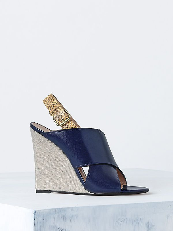 Celine 2014 spring 110MM CRISS CROSS SANDAL IN CALFSKIN NAVY & CANVAS NATURAL & PYTHON CREAM