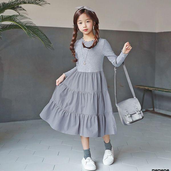 3fb30fd2e8825 オデトゥカンカン ワンピース 長袖 グレー キッズ 女の子 女児 子ども 韓国子供