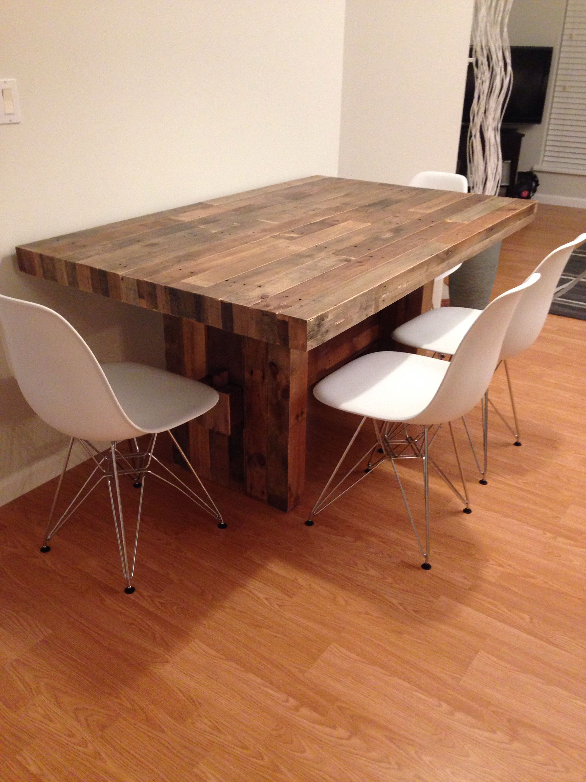 westelm emerson table paired with the white eames replica chair