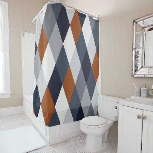 Navy Rust Geometry VIIA Shower Curtain | Zazzle.com