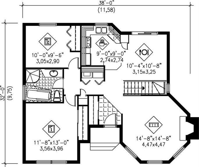 Ranch Home Plan 2 Bedrms 2 Baths 1020 Sq Ft 157