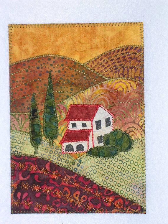 Tuscan Landscape 5x7 Quilt Art Applique Art Quilt Mini Landscape Quilts Landscape Art Quilts Fiber Art Quilts