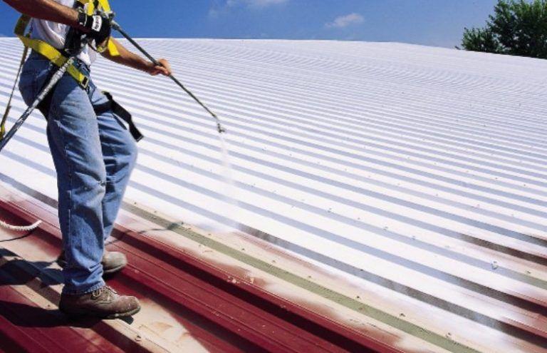 Metal roof repair in process near Kirksville, Missouri