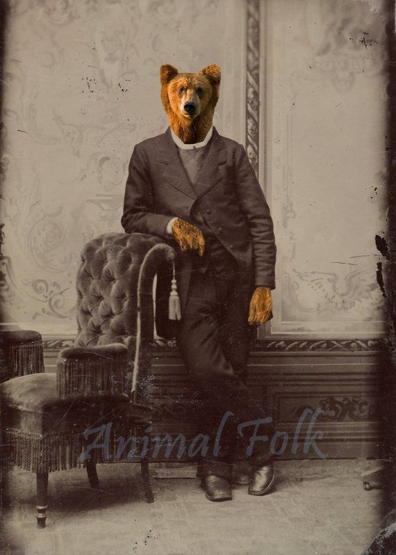 Bear With Me Gentleman Art Digital Collage Anthropomorphic