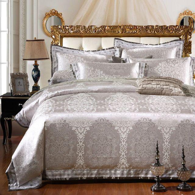 Silver//Gray Jacquard Satin Cotton Duvet Cover 500TC Bedding Set Luxury 4pc