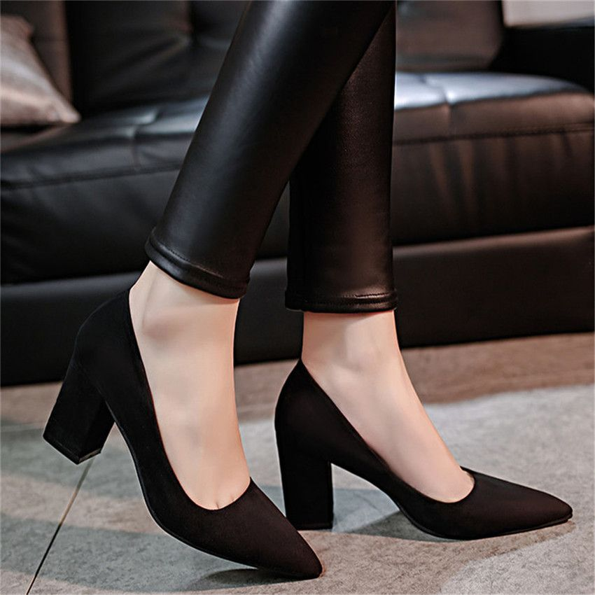Elegant Pointed Toe Solid Velvet Block High Heels Shoes Pumps For