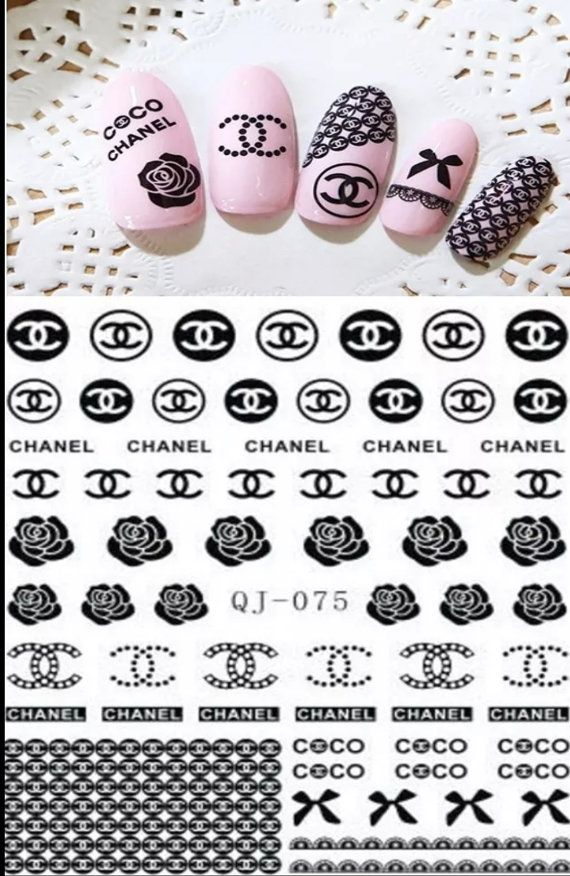 Chanel inspired nail decals water decals chanel logo nail decals coco chanel nail decals