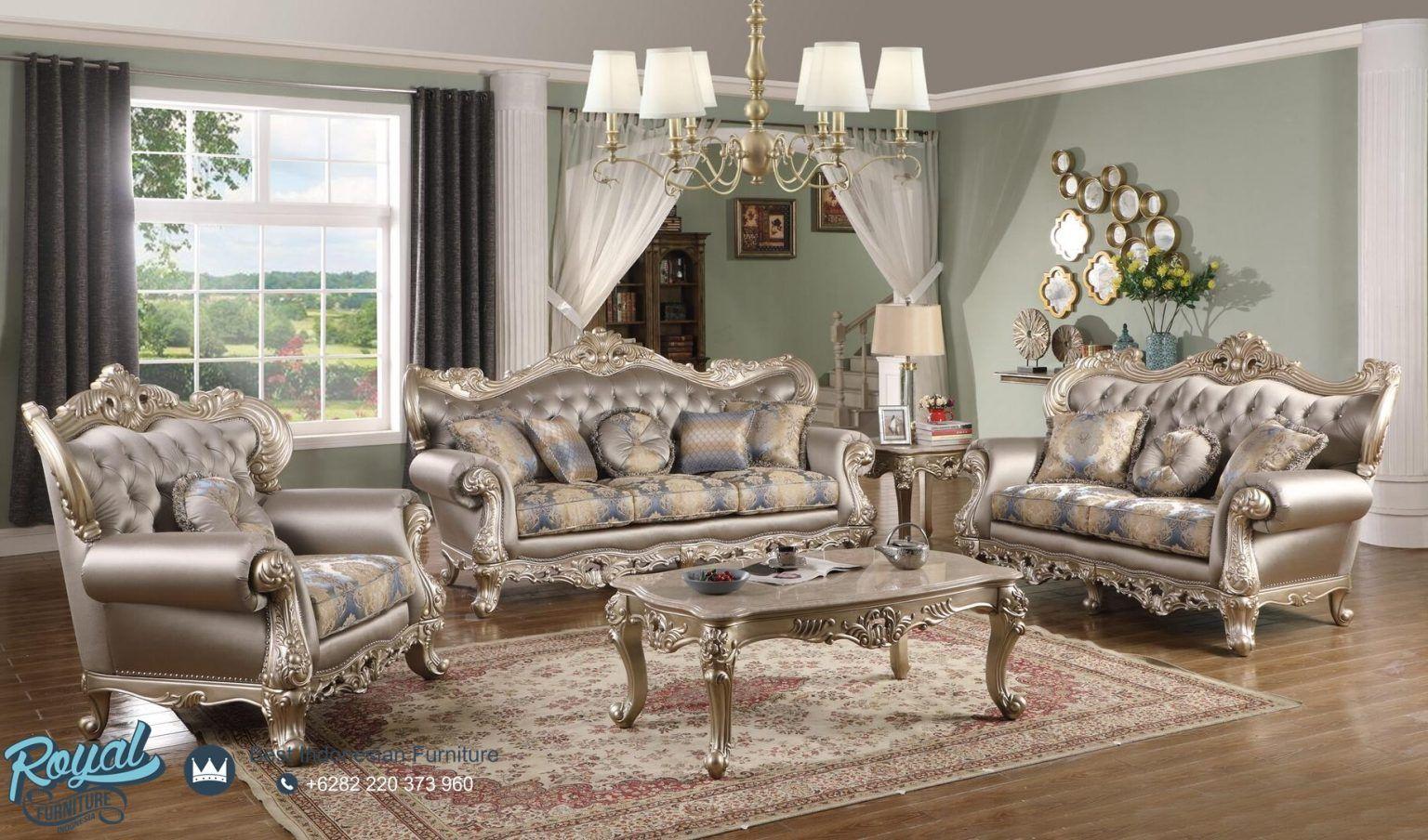 Model Sofa Tamu Mewah Ukiran Klasik Jepara Ariel Gold Royal Furniture Indonesia Set Ruang Keluarga Furnitur Ruang Keluarga Sofa Dua Dudukan