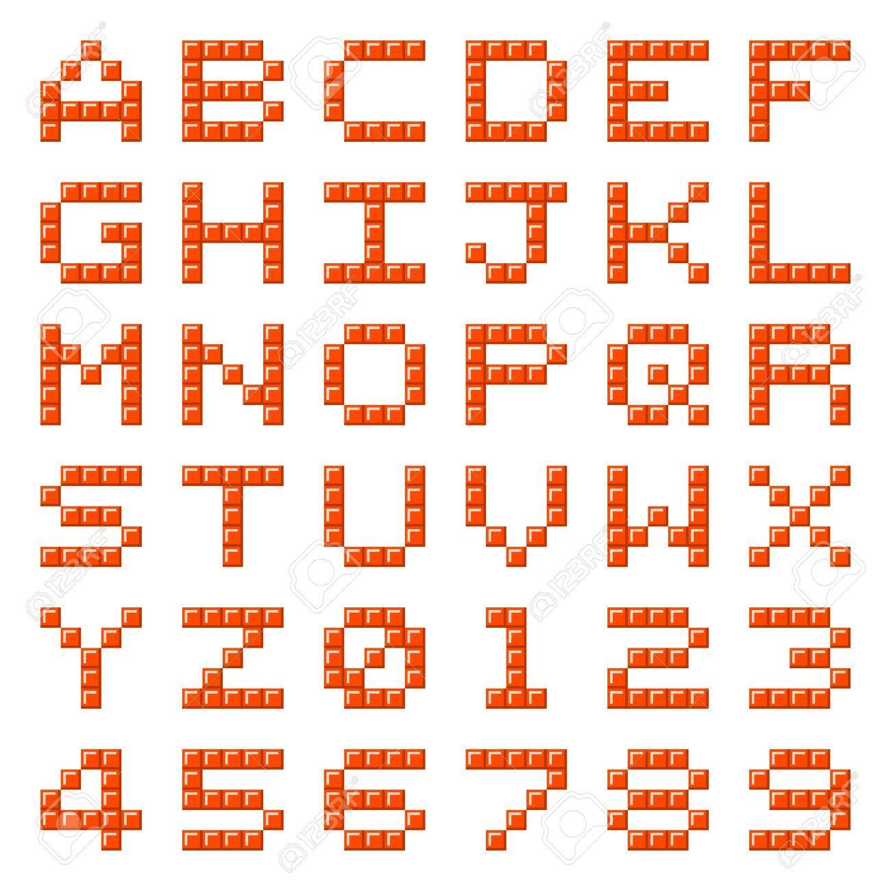 Stock Photo Lettres Alphabet Pixel Art Lettre Et Dessin