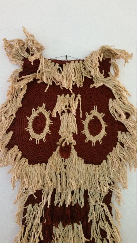 Vintage owl wall hanging artisan made crochet owl fibre art mid