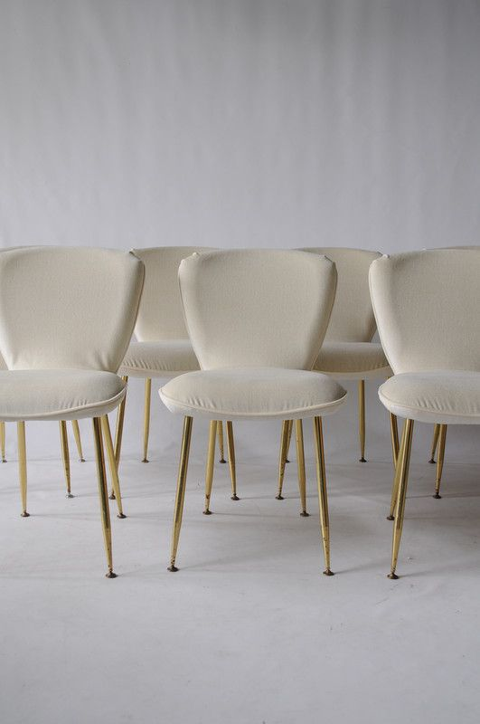 Louis Sognot Vintage Dining Chairs Brass Legs & Offwhite Fabric Classy Off White Dining Room Furniture Decorating Inspiration