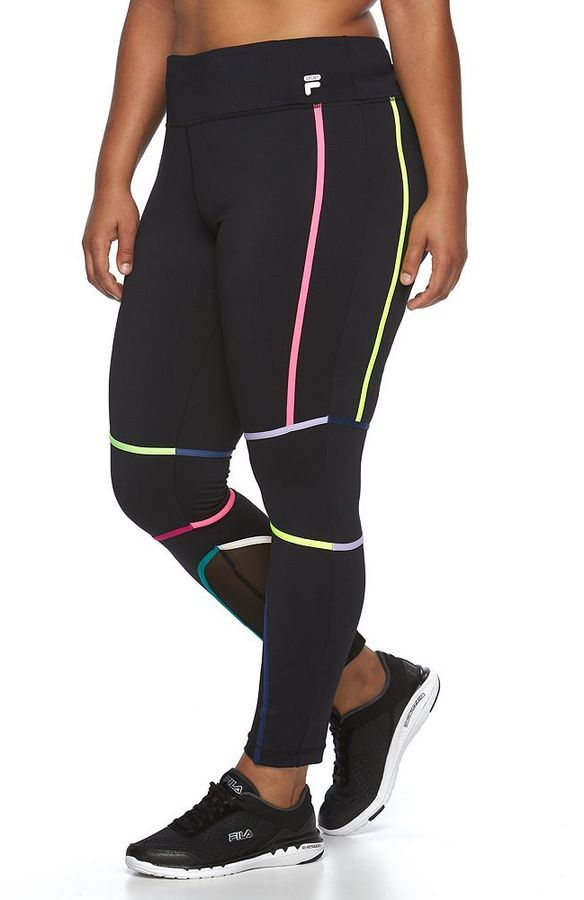 b4622baaa14db Plus Size FILA SPORT® Multi Color Binding Running Leggings   You can find  more details by visiting the image link.