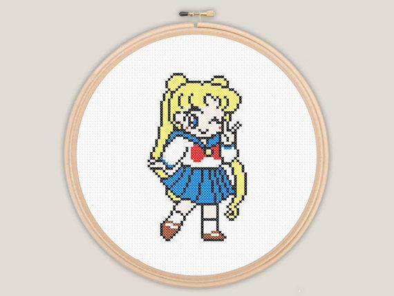 Sailor Moon Uniform School Girl Cross Stitch PATTERN