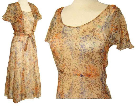 Vintage 30s Dress Floral Chiffon Flutter Sleeve Capelet Bolero 2 Piece Set S XS