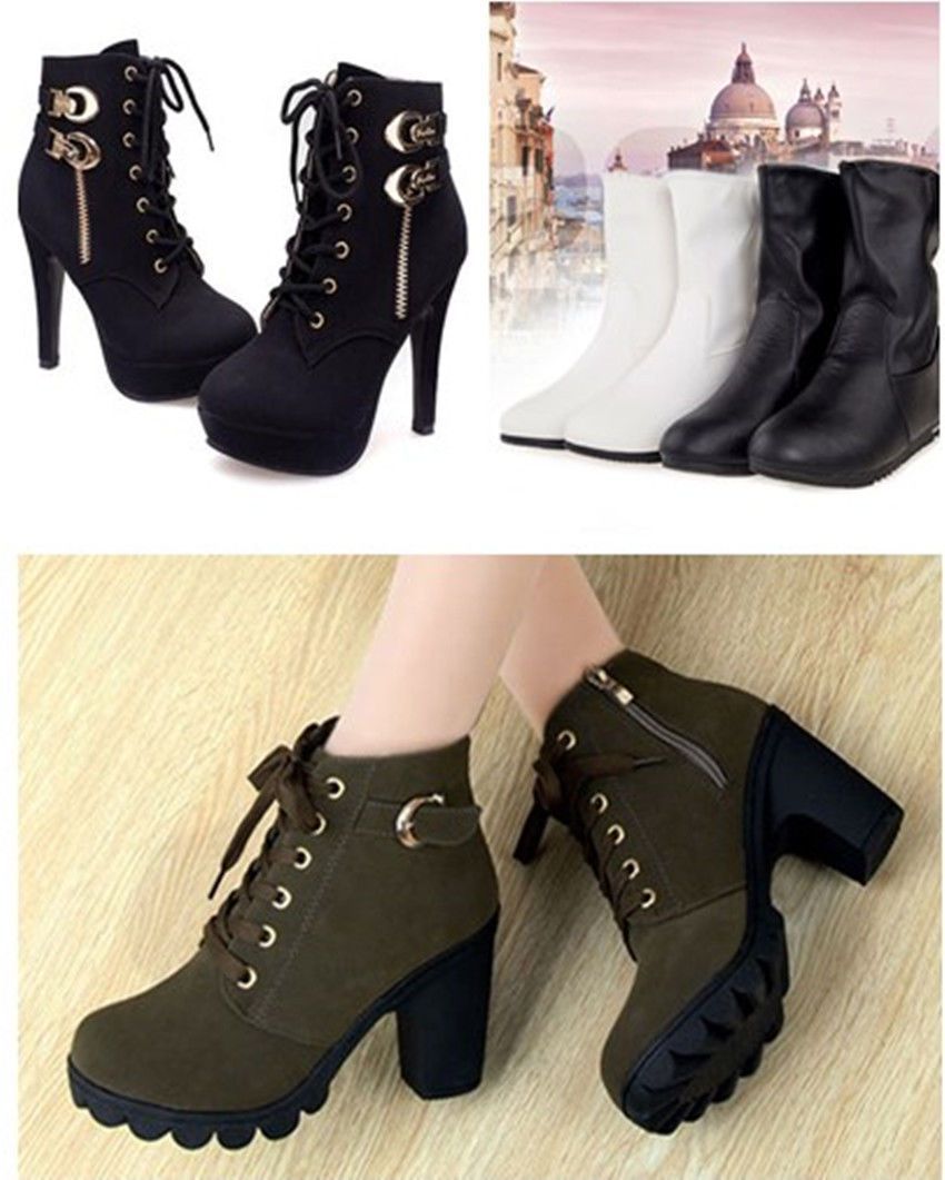 ad1b9d5257e9 Winter Ladies Womens Chunky High Heel Cleated Sole Ankle Chelsea Boots Shoes  3-8