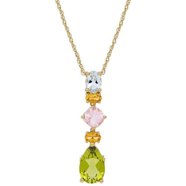 David Tutera 14k Gold Over Silver Simulated Gemstone Linear Drop... ($90) ❤ liked on Polyvore featuring jewelry, pendants, green, gemstone pendants, gold pendant, gold jewelry, silver gemstone pendants and charm pendant