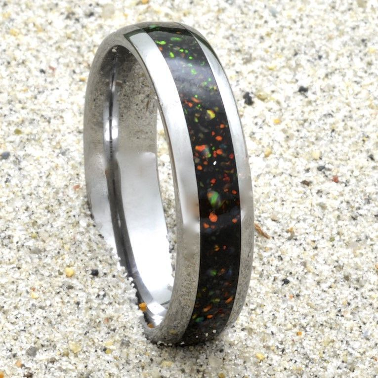 Opal Tungsten Ring Wedding Band Gift 6mm Wide Women or Men