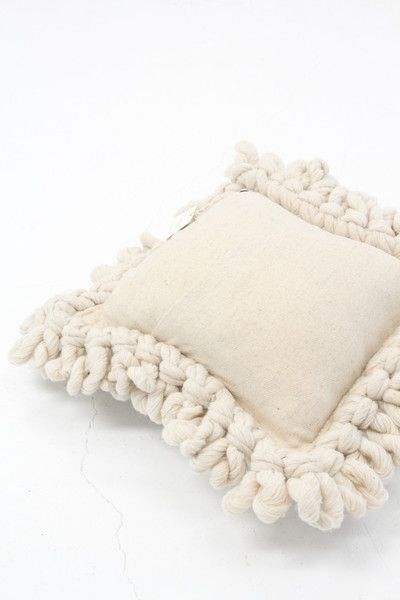 Hand-made Organic Wool Pillow in LightBurgundy with Long Pile by LIS