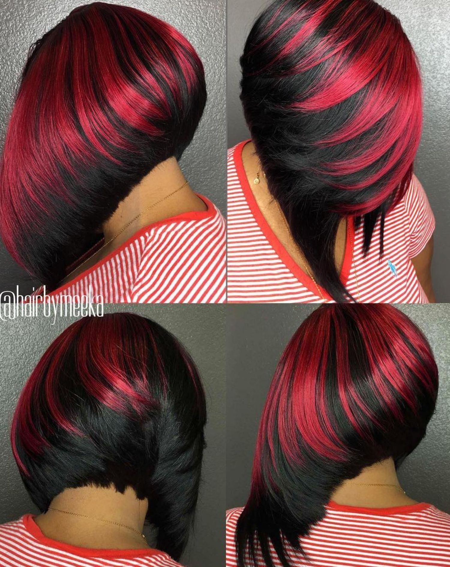 Black Bob With Feathered Scarlet Highlights Hair Styles Thick Hair Styles Short Hair Styles