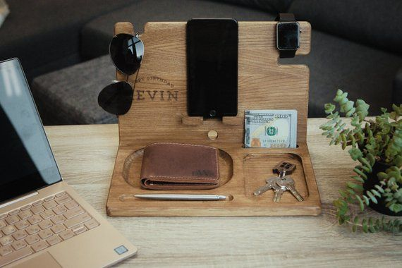 Wooden Stand Docking Station Meaningful Gifts Mens Accessories Gift