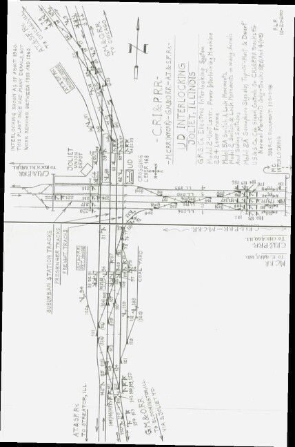 The diagram of tracks, switches and signals at Joliet UD