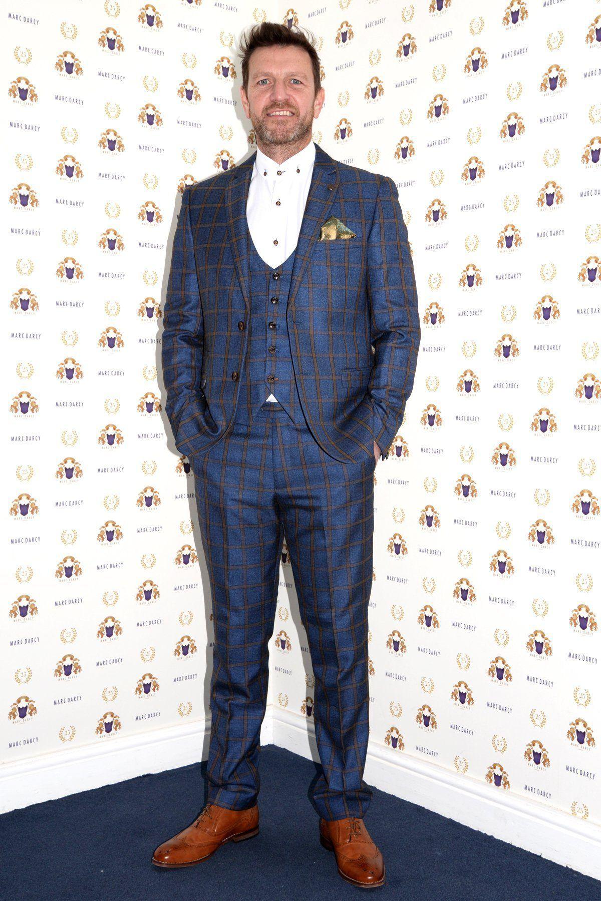 Marc Darcy Glen Tweed Blazer Navy