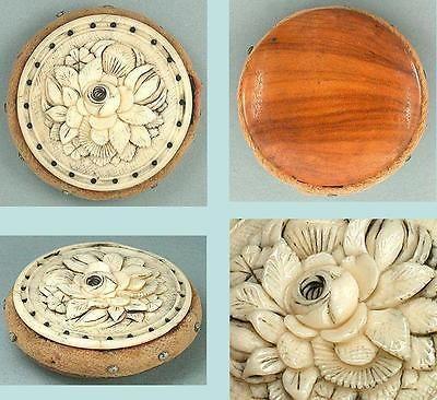 Antique Carved Bone Roses Pin Cushion Disc French Circa 1830 Pin Cushions