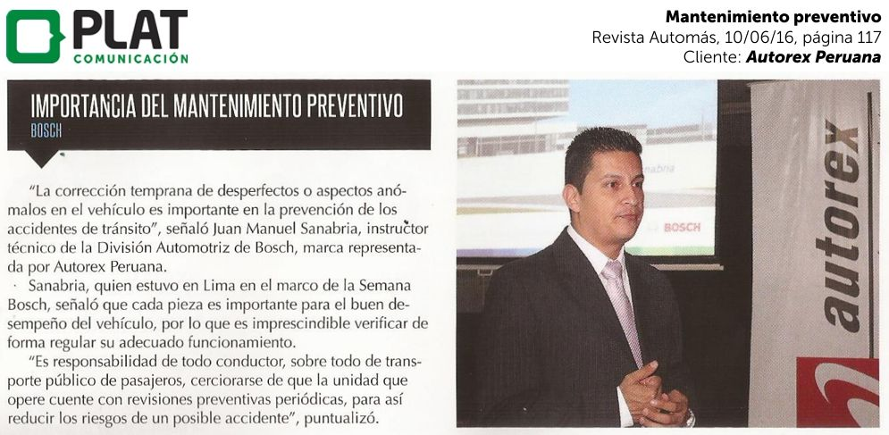 Autorex Peruana: Mantenimiento preventivo vehicular en la revista Automás (10/06/16)