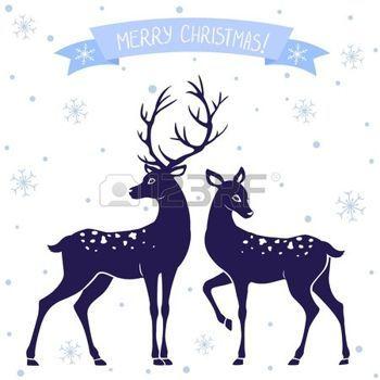 animali bianco e nero: sagome di illustrazione in bianco e nero di due cervi di Natale