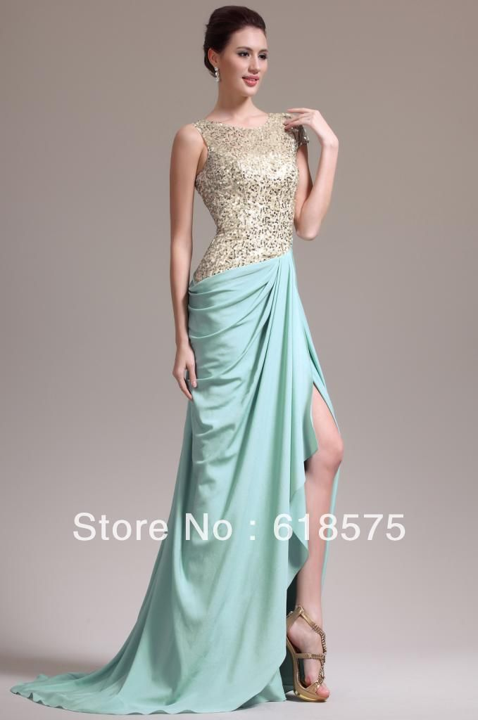 Free Shipping Scoop Gold Sequin Mint Chiffon Side Split Dresses ...